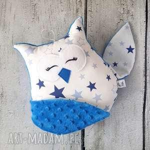 Śpiąca sowa niebieska - maskotka przytulanka, sowa, gwiazdki, minky, przytulanka