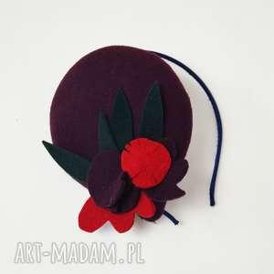 ozdoby do włosów picasso bordo, filc, toczek, jesień, oryginalny prezent