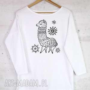 ALPAKA bluzka bawełniana biała z nadrukiem S/M, bluzka, bluza, biała, bawełna, lama