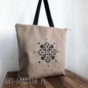 handmade na ramię torba zamek z autorskim wzorem