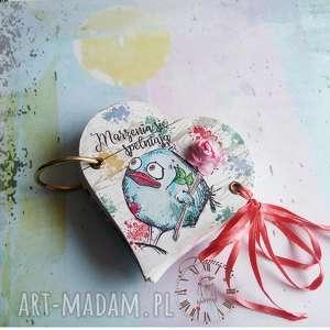Prezent notes z ptaszkiem, notes, ptaszek, serce, kolorowy, prezent
