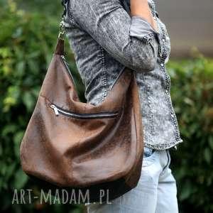 hand-made na ramię brązowa torba w kształcie worka z eko zamszu długim