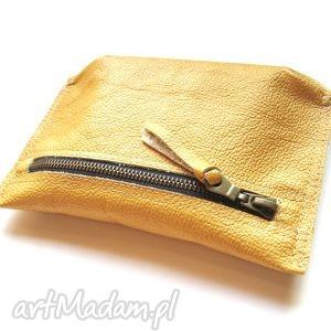 Skórzane złote etui, skórzane, skóra, handmade, torebka