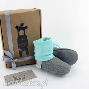 ręcznie zrobione buciki bambosze z golfem / hand made / szaro - miętowe