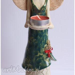 Anioł stojący ze świeczką, anioł, ceramika
