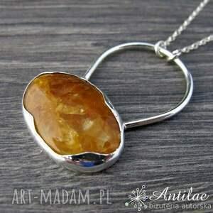Naszyjnik z pomarańczowym awenturynem, srebrny naszyjnik ręcznie wykonany, awenturyn
