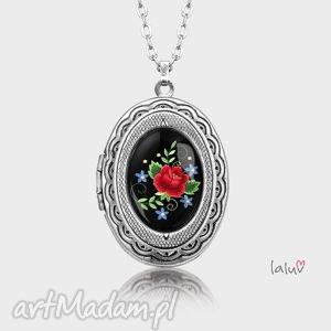 sekretnik owalny haftowana rÓŻa - kwiaty, ludowe, haft, grafika, folk, etniczna