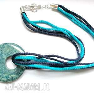 naszyjnik ceramika sznurek niebieski - naszyjnik, etno, boho, ceramika, wiosna, hipi