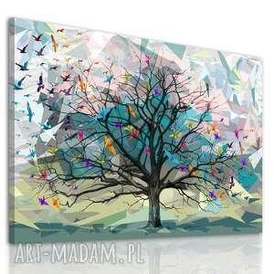 obraz do salonu drukowany na płótnie z drzewem, kolorowe drzewo życia