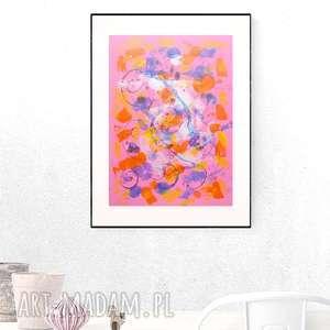 abstrakcyjna grafika, kolorowa dekoracja na ścianę, abstrakcja ręcznie malowana