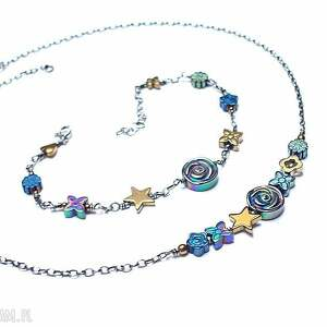 colours mix vol 3 /hematite / - bransoletka, srebro, oksydowane, hematyty, kwiaty