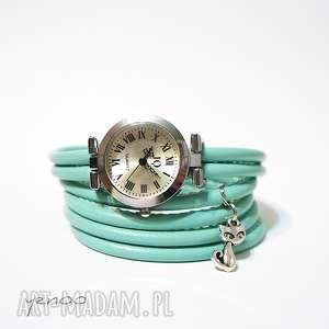 handmade zegarki zegarek, bransoletka - turkusowy kotek