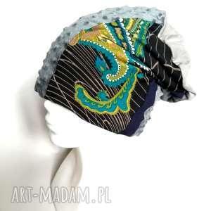 czapka damska kolorowa orientalna wiosenna handmade boho, czapka