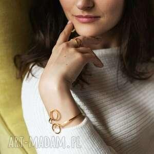 hand-made elastyczna bransoletka geometryczna złocona