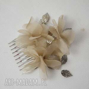 grzebień beżowy, grzebień, jedwab, beż, ślub ozdoby do włosów
