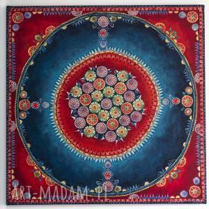 Mandala, płótno, folk, akryl, decupage, obraz