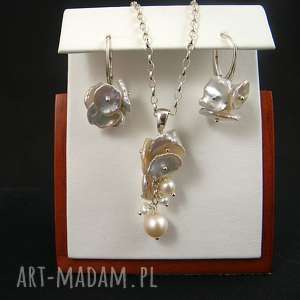 Keshi komplet onyksela perły,