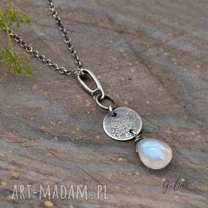 Kamień księżycowy surowa srebrna zawieszka wisiorki grey line