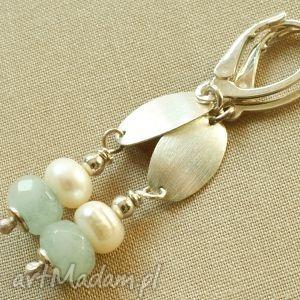 kolczyki z kwarcu, pereł i srebra
