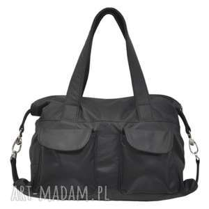 09-0013 czarna torba skórzana / torebka damska elegancka - sportowa tit, modne