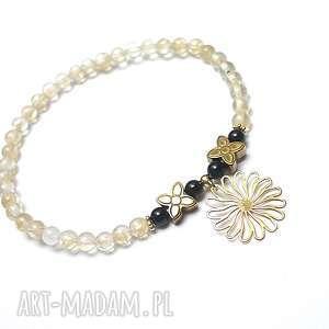 Złoty słonecznik, kamienie, minerały, srebro, kwiat, romantyczna