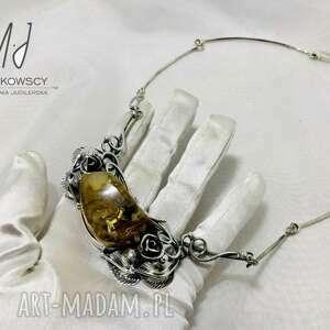 ręcznie robione naszyjniki naszyjnik kolia srebro i bursztyn bałtycki rękodzieło