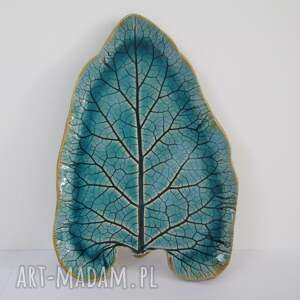 ceramika talerzyk liść łopianu, talerz ceramiczny, organiczna ceramika