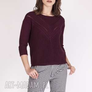 sweterek z ażurową wstawką, swe041 bordo mkm, dzianinowy, ażurowy, łódka