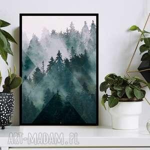 Obraz w ramie las 2r - 73x52cm drukowany na płótnie we mgle