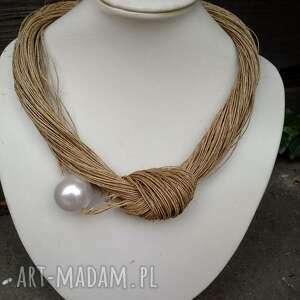 lniany naszyjnik z białą perłą korale, len, natura, perła, prezent