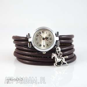 zegarek, bransoletka - brązowy koń, bransoletka, rzemienie, unikatowy