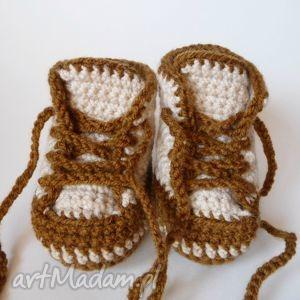 buciki szydełkowe trampki beżowo-brązowe, buciki, trampki, dla