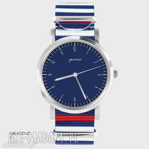 hand-made zegarki zegarek, bransoletka - simple elegance, granatowy - paski, nato