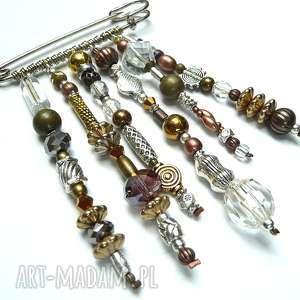 ręcznie wykonane broszki boho chic. broszka w złotej modnej tonacji. doskonały prezent handmade. na topie