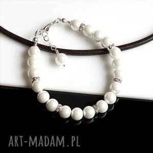 perły seashell - bransoletka, perła seashell, srebro, ślub, biała