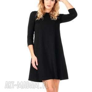 czarna brokatowa sukienka z rękawem 3/4, lalu, sukienka, rozkloszowana, brokat