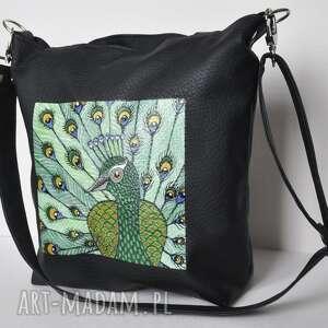 na ramię torba hobo z ręcznie malowanym motywem pawia, malowana, bajkowa, paw