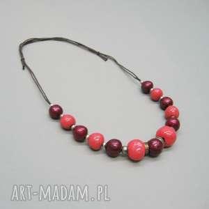 naszyjnik koralowy - naszyjnik, elegancki, kobiecy, prezent, biżuteria, ceramika