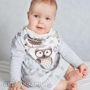 apaszka, chustka dla dziecka minky - sowy ecru, minky