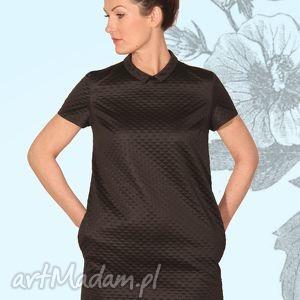 Sukienka diamanda sukienki efimero mini, kołnierzyk, kieszenie