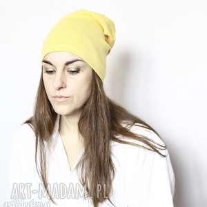 Czapka dzianinowa unisex zółta czapki ruda klara bawełna, czapka