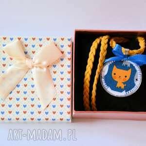 naszyjnik dziecięcy - rudy kotek - naszyjnik, kotek, dziewczynka, eko, dziecko