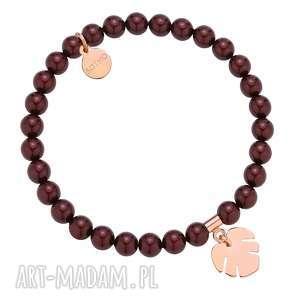 bransoletka z pereł swarovski® crystal z monsterą z różowego