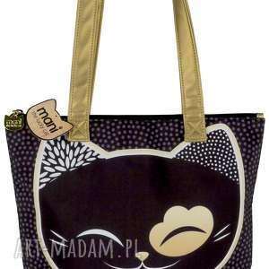 torebka mani lucky cats czarna - torebka, prezent, kimmidoll, zakupy, plaża