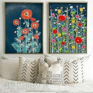 zestaw 2 prac a4, kwiaty, maki, łąka, plakat, sztuka