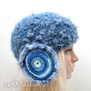 czapka w błękitach, z nausznikami, czapeczka nauszniki ciepła zima, oryginalna