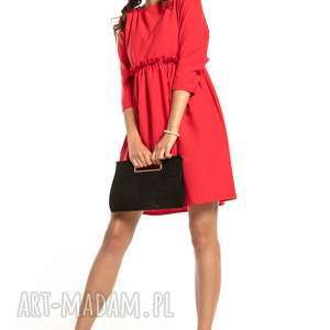 elegancka sukienka marszczona pod biustem, t284, czerwona, elegancka