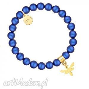 ręczne wykonanie dla dziecka perłowa bransoletka z pereł swarovski® crystal ze złotą ważką