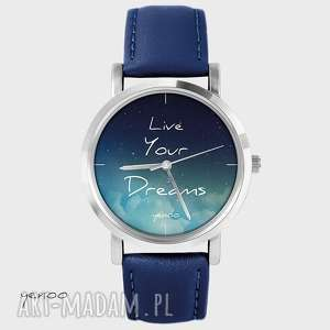 zegarki zegarek, bransoletka - live your dreams granatowy, skórzany, zegarek