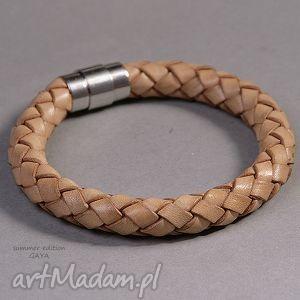obwarzanek, skóra, naturalna, magnetyczne, minimalistyczna, modna, prezent biżuteria
